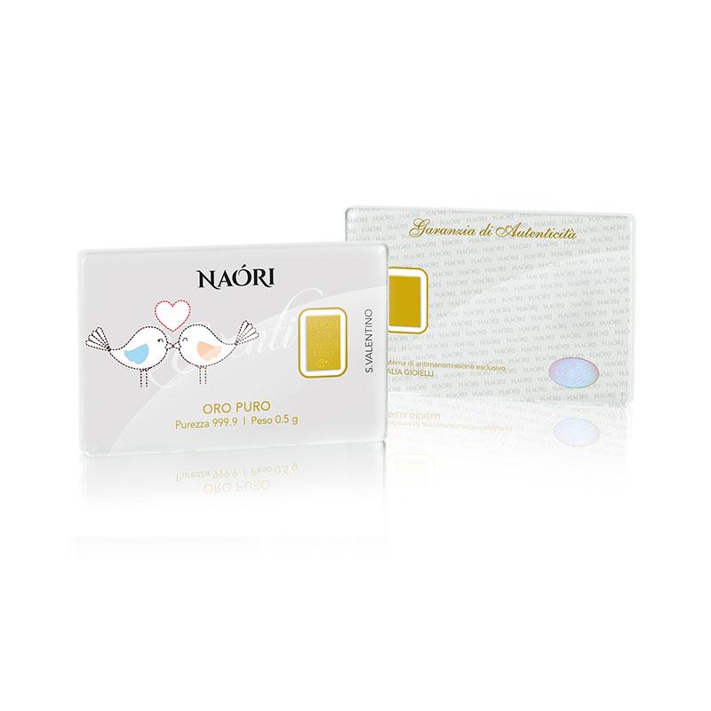 Naori - San Valentino - ORO PURO, Purezza 999.9 - Formato 1pz da 0.5 g