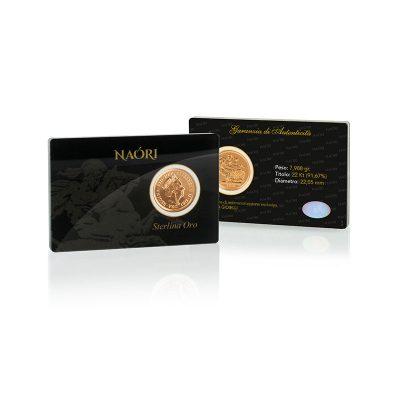Sterlina in oro 916 nel fantastico blister Naori